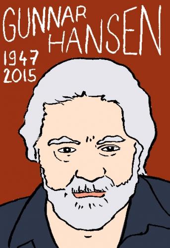 mort de gunnar hansen, dessin, portrait, laurent jacquy,répertoire des macchabées célèbres,mort d'homme,