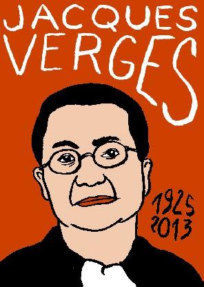 Jacques Vergès,dessin,portrait,Laurent Jacquy,art modeste,art singulier,les beaux dimanches,répertoire des macchabées célèbres