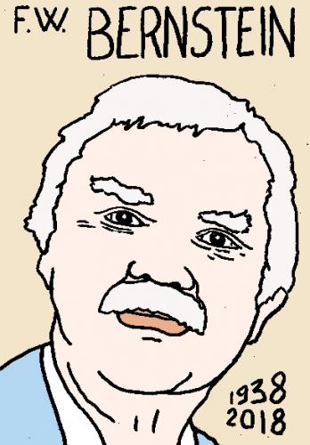 mort de F.W. Bernstein, dessin, portrait, laurent jacquy,répertoire des macchabées célèbres,mort d'homme,