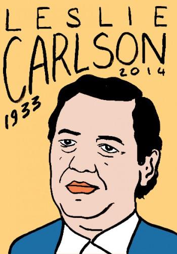 Mort de Leslie carlson,portrait,dessinlaurent Jcaquy,répertoire des macchabées célèbres,mort d'homme,art modeste