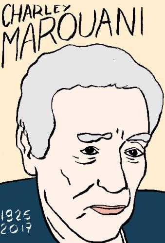 mort de chharley marouani, dessin, portrait, laurent jacquy,répertoire des macchabées célèbres,mort d'homme,