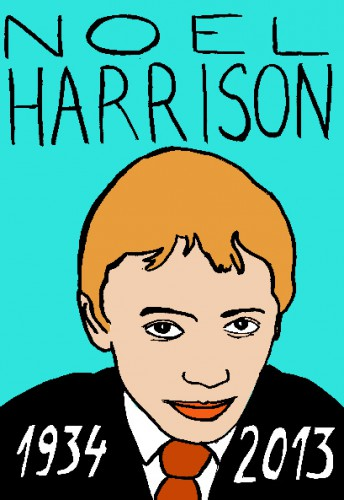 Mort de Noel Harrison,dessin,portrait,mort d'homme,répertoire des macchabées célèbres,laurent jacquy,art modeste