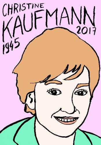 mort de christine kaufmann, dessin, portrait, laurent jacquy,répertoire des macchabées célèbres,mort d'homme,