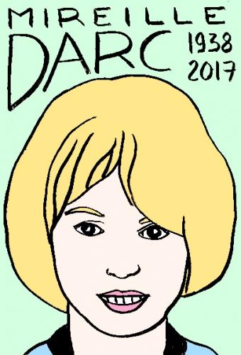 mort de Mireille Darc, dessin, portrait, laurent jacquy,répertoire des macchabées célèbres,mort d'homme,