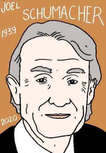 mort de Joel Schumacher, dessin, portrait, laurent jacquy,répertoire des macchabées célèbres,mort d'homme,