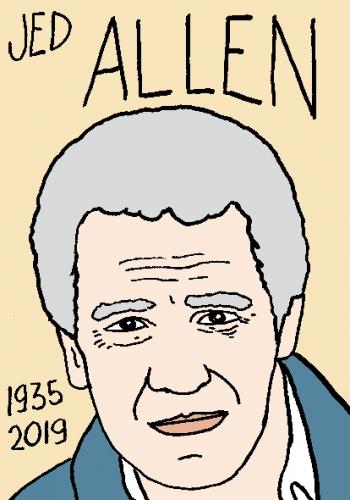mort de Jed Allen, dessin, portrait, laurent jacquy,répertoire des macchabées célèbres,mort d'homme,
