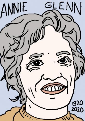 mort d'Annie Glenn, dessin, portrait, laurent jacquy,répertoire des macchabées célèbres,mort d'homme,
