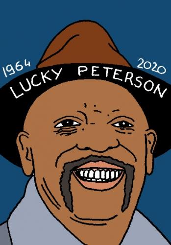 mort de Lucky Peterson, dessin, portrait, laurent jacquy,répertoire des macchabées célèbres,mort d'homme,