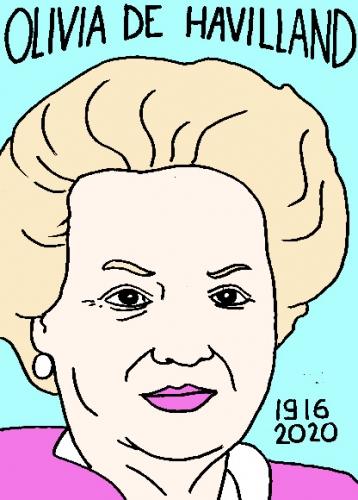 mort de Olivia de Havilland, dessin, portrait, laurent jacquy,répertoire des macchabées célèbres,mort d'homme,