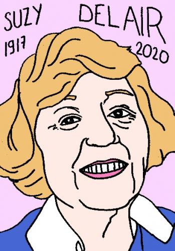 mort de Suzy Delair, dessin, portrait, laurent jacquy,répertoire des macchabées célèbres,mort d'homme,