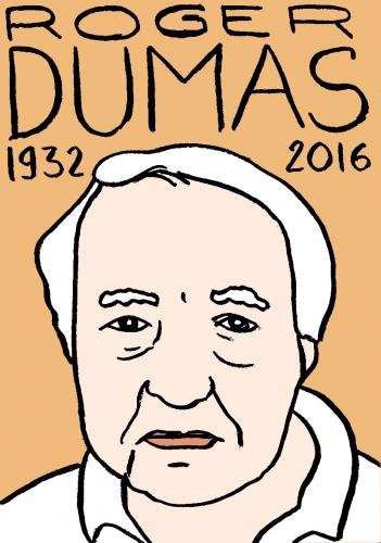 mort de roger dumas, dessin, portrait, laurent jacquy,répertoire des macchabées célèbres,mort d'homme,