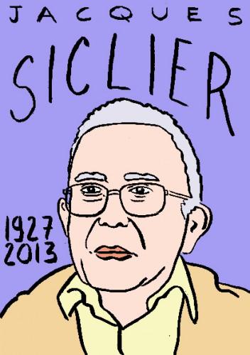 Mort de Jacques Siclier,dessin,portrait,laurent jacquy,cinéma,mort d'homme,répertoire des macchabées célèbres,art modeste,art singulier