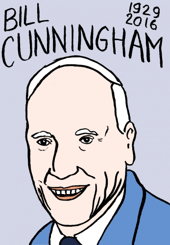 mort de bill cunningham, dessin, portrait, laurent jacquy,répertoire des macchabées célèbres,mort d'homme,