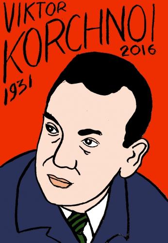 mort de viktor korchnoï, dessin, portrait, laurent jacquy,répertoire des macchabées célèbres,mort d'homme,image libre de droit