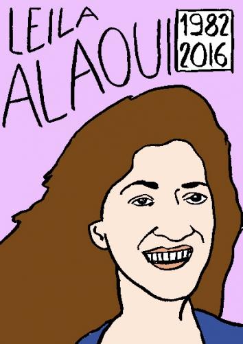 mort de leila alaoui, dessin, portrait, laurent jacquy,répertoire des macchabées célèbres,mort d'homme,