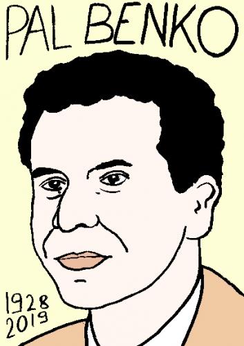 mort de Pal Benko, dessin, portrait, laurent jacquy,répertoire des macchabées célèbres,mort d'homme,