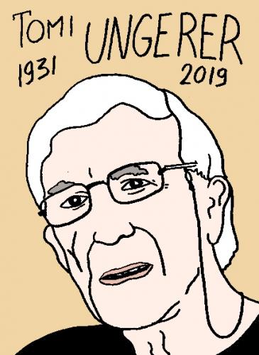 mort de Tomi Ungerer, dessin, portrait, laurent jacquy,répertoire des macchabées célèbres,mort d'homme,