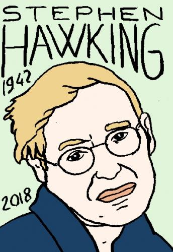 mort de stephen Hawking, dessin, portrait, laurent jacquy,répertoire des macchabées célèbres,mort d'homme,
