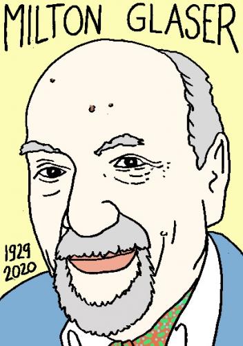 mort de Milton Glaser, dessin, portrait, laurent jacquy,répertoire des macchabées célèbres,mort d'homme,