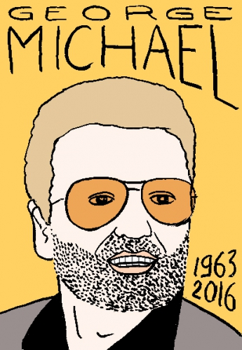 mort de George Michael, dessin, portrait, laurent jacquy,répertoire des macchabées célèbres,mort d'homme,