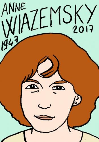 mort de Anne Wiazemsky, dessin, portrait, laurent jacquy,répertoire des macchabées célèbres,mort d'homme,