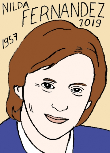 mort de Nilda Fernãndez, dessin, portrait, laurent jacquy,répertoire des macchabées célèbres,mort d'homme,