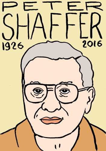 mort de Peter shaffer, dessin, portrait, laurent jacquy,répertoire des macchabées célèbres,mort d'homme,image libre de droit
