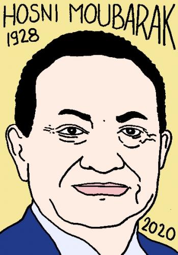 mort dHosni Moubarak, dessin, portrait, laurent jacquy,répertoire des macchabées célèbres,mort d'homme,
