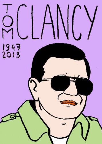 Mort de Tom Clancy,romancier,écrivain,dessin,portrait,laurent jacquy,mort d'homme,répertoire des macchabées célèbres,art modeste,art singulier