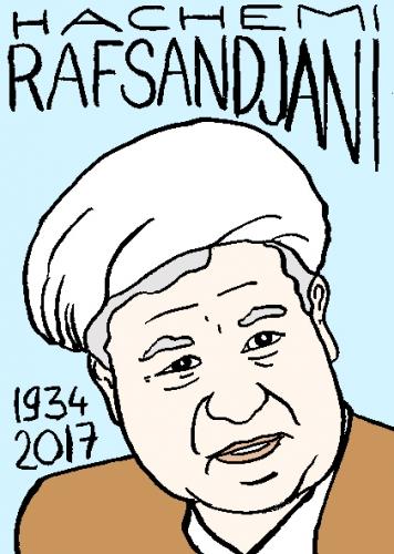 mort d'hachemi rafsandjani, dessin, portrait, laurent jacquy,répertoire des macchabées célèbres,mort d'homme,