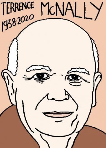 mort de TerrenceMcNally, dessin, portrait, laurent jacquy,répertoire des macchabées célèbres,mort d'homme,