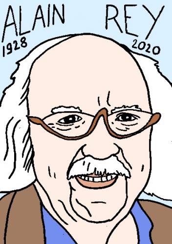 mort d'Alain Rey, dessin, portrait, laurent jacquy,répertoire des macchabées célèbres,mort d'homme,