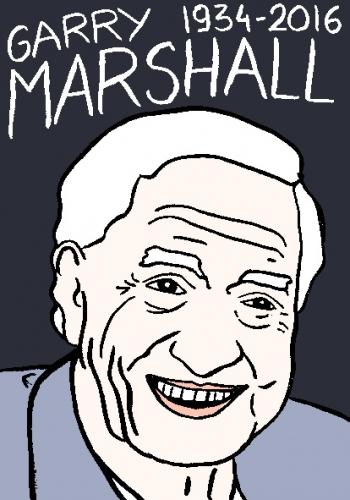 mort de garry marshall, dessin, portrait, laurent jacquy,répertoire des macchabées célèbres,mort d'homme,