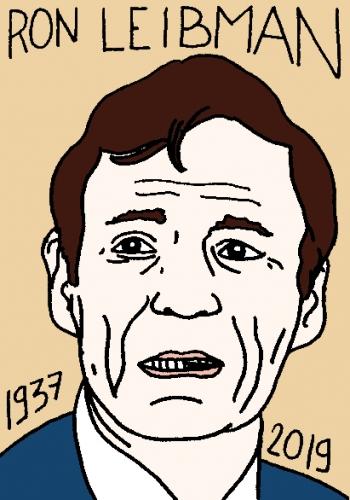 mort de Ron Leibman, dessin, portrait, laurent jacquy,répertoire des macchabées célèbres,mort d'homme,