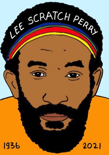 mort de Lee Scratch Perry,dessin,portrait,laurent Jacquy