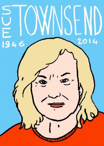 mort de sue townsend,portrait,dessin,laurent jacquy,répertoire des maccabées célèbres,mort d'homme,littérature