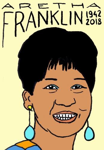 mort d'aretha Franklin, dessin, portrait, laurent jacquy,répertoire des macchabées célèbres,mort d'homme,