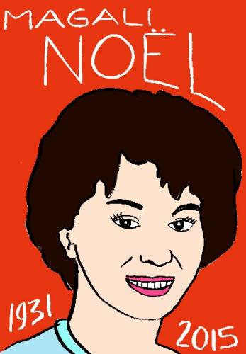 mort de Magali Noel, dessin, portrait, laurent jacquy,répertoire des macchabbées célèbres, visage,mort d'homme