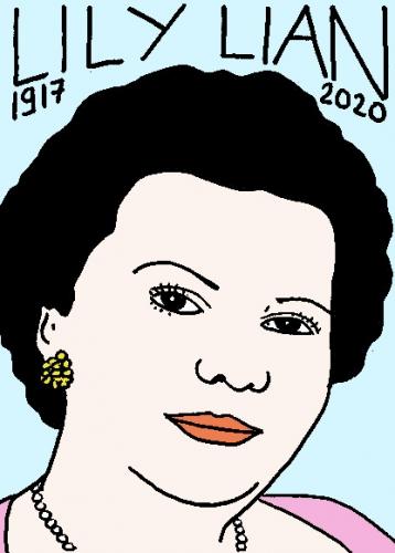 mort de Lily Lian, dessin, portrait, laurent jacquy,répertoire des macchabées célèbres,mort d'homme,