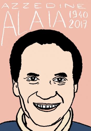 mort d'azzedine alaia, dessin, portrait, laurent jacquy,répertoire des macchabées célèbres,mort d'homme,