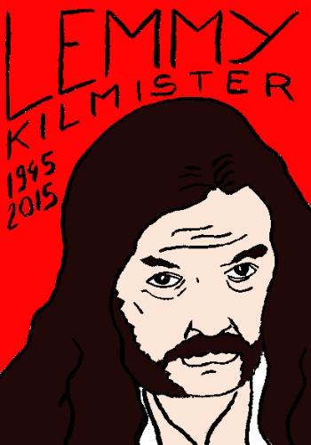 mort de Lemmy, motorhead, dessin, portrait, laurent jacquy,répertoire des macchabées célèbres,mort d'homme,