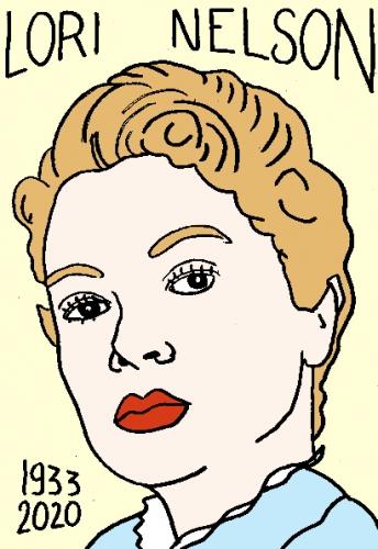 mort de Lori Nelson, dessin, portrait, laurent jacquy,répertoire des macchabées célèbres,mort d'homme,