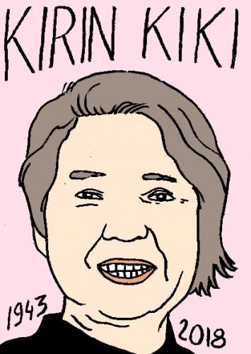 mort de kirin kiki, dessin, portrait, laurent jacquy,répertoire des macchabées célèbres,mort d'homme,