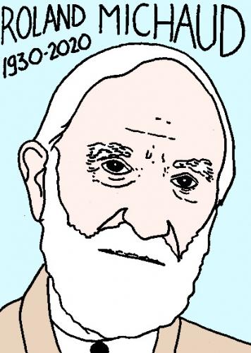 mort de Roland Michaud, dessin, portrait, laurent jacquy,répertoire des macchabées célèbres,mort d'homme,