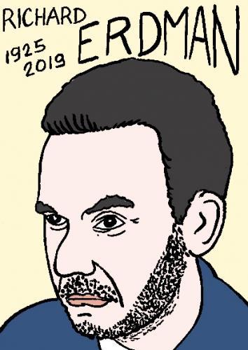 mort de richard erdman, dessin, portrait, laurent jacquy,répertoire des macchabées célèbres,mort d'homme,