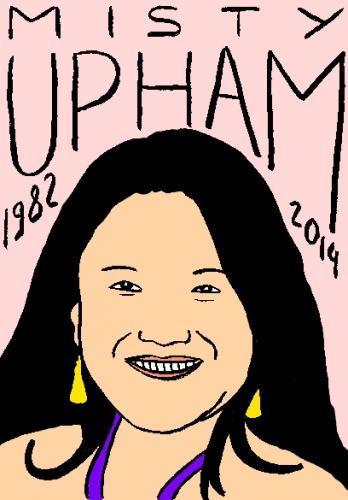 mort de misty uphman,dessin,portrait,laurent jacquy,répertoire des macchabées célèbres