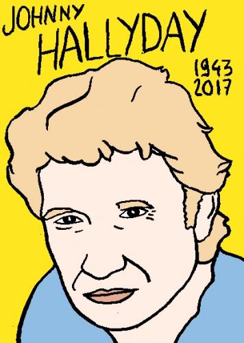 mort de Johnny Hallyday, dessin, portrait, laurent jacquy,répertoire des macchabées célèbres,mort d'homme,