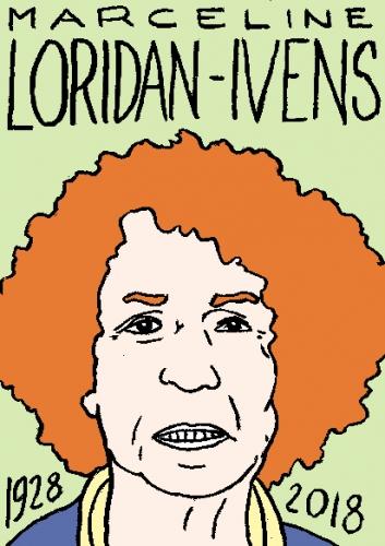 mort de Marceline Loridan-Ivens, dessin, portrait, laurent jacquy,répertoire des macchabées célèbres,mort d'homme,