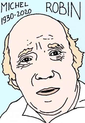 mort de Michel Robin, dessin, portrait, laurent jacquy,répertoire des macchabées célèbres,mort d'homme,