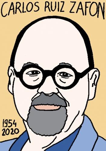 mort de Carlos Ruiz Zafon, dessin, portrait, laurent jacquy,répertoire des macchabées célèbres,mort d'homme,